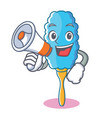 with megaphone feather duster character cartoon vector image vector image