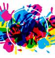 Big circle frame made of colored handprints vector image