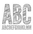 Pencil sketched font vector image