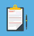 business paper document with pen isolated on blue vector image