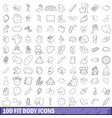 100 fit body icons set outline style vector image vector image