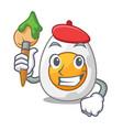 artist cartoon boiled egg sliced for breakfast vector image