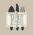 banner for a restaurant menu with cutlery vector image vector image