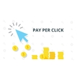 Blue arrow and many coins Pay per click marketing vector image vector image