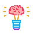 brain idea lamp icon outline vector image