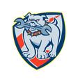 Bulldog Spanner Mascot Shield vector image vector image