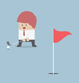 Businessman playing Golf vector image