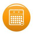 calendar page icon orange vector image vector image