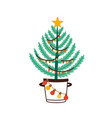 christmas tree in bucket flat vector image vector image