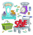 colorful sticker set supermarket and trade the vector image