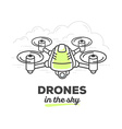 creative drone with text on white backgro vector image vector image