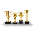 cup on shelf trophy golden awards vector image vector image