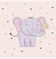 cute elephant with flowers on background of hearts vector image vector image