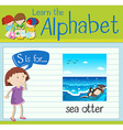 Flashcard letter S is for sea otter vector image vector image