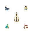 flat icon building set of catholic religion vector image vector image