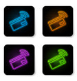 glowing neon contactless payment with nfc card vector image