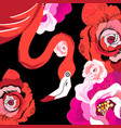 graphic red flamingo among roses vector image vector image