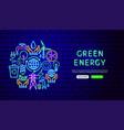 green energy neon banner design vector image vector image