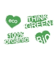 Grunge scratch green organic product stamps vector image