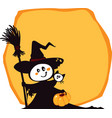 halloween witch and cat on an yellow background vector image vector image