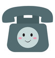 happy old telephone on white background vector image vector image