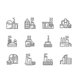 Industrial facilities black line icons set vector image