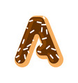 letter a donut font doughnut alphabet sweet vector image vector image