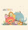 little boy with cartoon animal happy friends vector image vector image