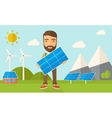 Man holding a solar panel vector image vector image