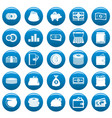 money icons set blue simple style vector image