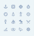 nautical icon set in thin line style vector image