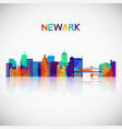 newark skyline silhouette in colorful geometric vector image vector image