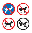 no dogs allowed sign set dog restriction icon vector image vector image