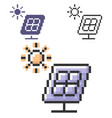 pixel icon solar battery in three variants vector image