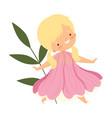 pretty blonde little girl wearing pink flower vector image