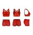 red women sports bra crop top shorts mockup set