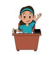 school girl on desk vector image