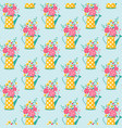 seamless pattern with watering can and flowers vector image vector image