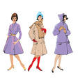 Set of elegant women - retro style fashion models vector image vector image