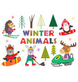 set of isolated winter fun with animals part 2 vector image