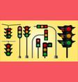 set realistic traffic light vector image vector image