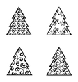 Simple Black Christmas Tree Icon Set vector image