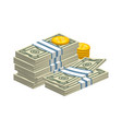 stacked money bills on white vector image