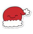 sticker of a cartoon christmas santa hat vector image vector image