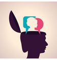 Thinking concept-Human head with male and female f vector image vector image