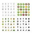 tree types icons set vector image