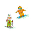 two boys skiing and snowboarding winter sport vector image vector image