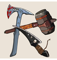 weapon against the zombies ax knife hammer vector image vector image