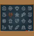 xmas gingerbread chalk draw line icons set vector image