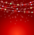 red holiday background with colored lights and vector image